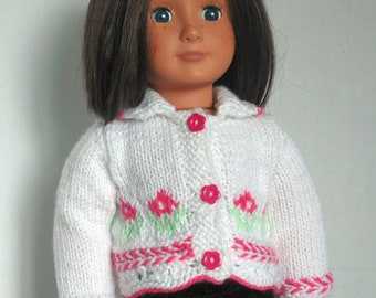 Cardigan in White for American Girl