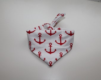 Handmade Red Anchor Bandana! Perfect Accessoire for your dogs. Only lmited! Out of Jersey.