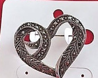 Vintage Fashion Jewerly 1Pc. Marcansite Heart Brooches Pins