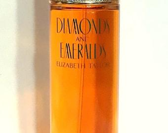 Vintage 1990s Diamonds and Emeralds by Elizabeth Taylor 3.4 oz Eau de Toilette Spray PERFUME