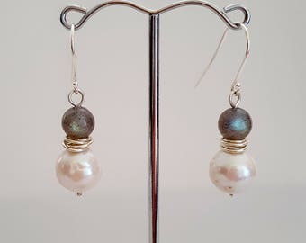 Labradorite and Pearl drop earrings, Blue flash Labradorite and Pearl, Made in Australia