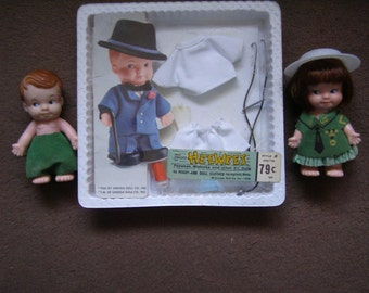 Heewees Doctor Outfit in Package and 2 Heewee Dolls!  1966 by Uneeda Doll Company