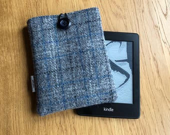 Kindle paperwhite case - Harris Tweed e-reader cover - gift for dad - Wool Anniversary - Kindle sleeve - gift for him - gift for her
