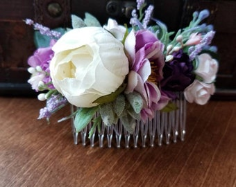 Bridal Hair combs, Hair comb, Ready to ship, silk hair comb, Flower hair piece, lavender comb, flower comb, succulent comb, silk floral comb