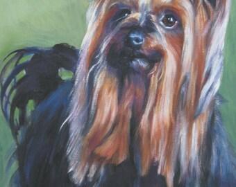 Yorkshire Terrier yorkie dog art CANVAS print of LA Shepard painting 12x16