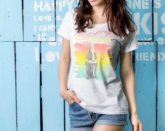 Coca Cola Summer Bottle White Woman Printed T-shirt