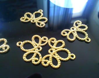 10 links flowers antique gold 21 x 21 x 1.5 mm 2 holes
