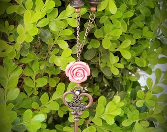 Rose key necklace/ mother's day gift / birthday gift/ necklace