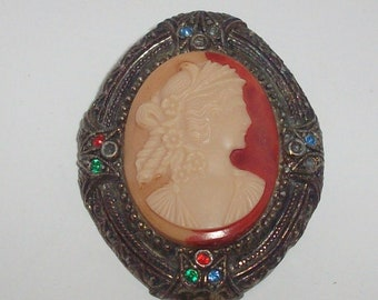 Antique Cameo Brooch By New England Glass Works 1920-30s Signed Vintage Pin