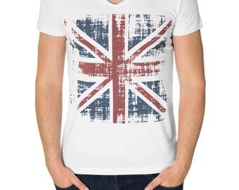 Mens graphic tees, custom printing t shirt, UK flag print, crew neck, short sleeve (MOD2005VN)