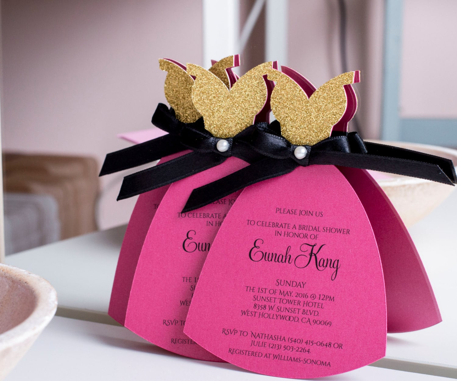 Hot Pink Black and Gold Bachelorette Party Invitation. Bridal