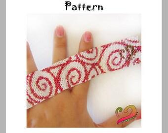 Swirled Peyote Pattern Bracelet - For Personal Use Only PDF Tutorial , swirls bracelet, beadwoven swirl bracelet , beadwork peyote bracelet