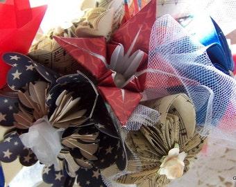 A Kusudama Military Wedding Bouquet