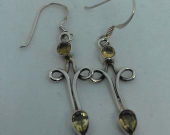Lemon Quartz and silver earrings