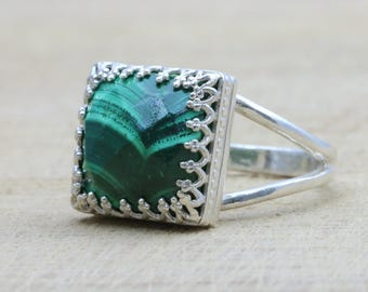 MOTHER'S DAY SALE - Malachite ring,silver ring,princess cut ring,emerald ring,gemstone ring,sterling ring,precious ring,green ring
