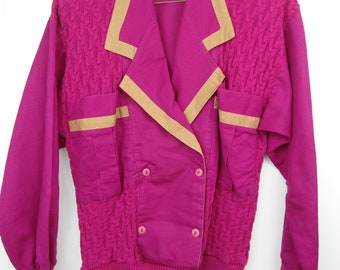 Vintage 80s Womens Sweater Jacket Pink Magenta Cable Knit Double Breasted Large