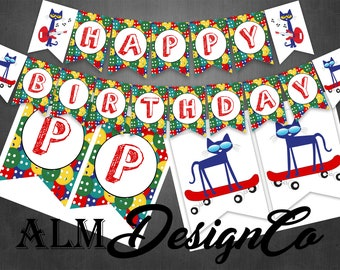 Pete the cat birthday banner - pete the cat banner - pete the cat party decorations - pete the cat birthday decorations