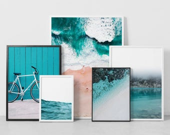 Coastal Print Set, Teal Poster Set, Gallery Wall Art Bundle, Blue Green, Art Print Bundle, Beach Landscape, Bike, Ocean, Set of 5 Digital