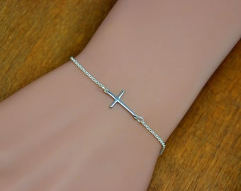 Dainty Cross Bracelet, Gold or Silver, Sideways Cross Bracelet, Horizontal Cross Bracelet, Celebrity Jewelry, Thin Cross, Simple Cross