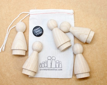 "Five 3"" Big Sister Dolls // Little Wooden People Fair Trade Natural Wooden Dolls - Unpainted Blank Wooden Doll"