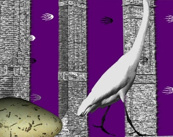 """Undetermined ~ digital art ~ 16""""x12""""~ surreal art with crane"""