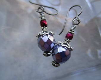 Lavender, Carmen Red & Silver Earrings with Hypoallergenic Silver Niobium Ear Wires Unique and Dressy Sparkly and Silvery Purple Czech Glass