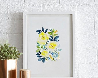 Solid Aster, Rose, Daffodil Watercolor painting, Flowers, Floral Print, Printable art, Home decor, Original art, Wall Art, Instant Download
