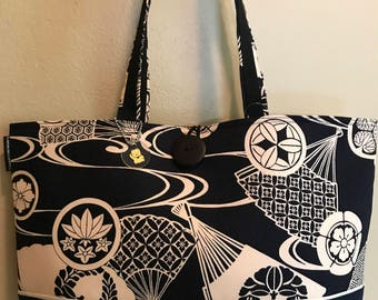 Asian inspired navy blue and ivory fabric tote bag