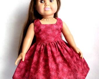 18 in Doll Sleeveless Dress -Red Fireworks Print