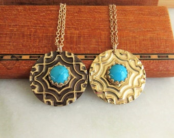 Personalized Turquoise Gold Necklace, December Birthstone,Gold Embossed Pendant Necklace,Unique Necklace,Bezel Set Necklace,14kt Gold Filled