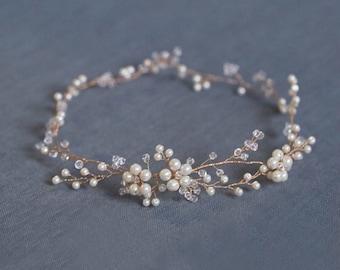 Handmade Hair Vine, Pearl Bridal Hair Wreath Headpiece in Gold - Wedding Halo Accessories