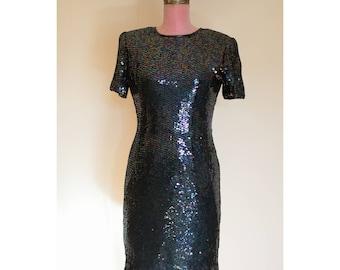 1990s Unworn Blue Sequined Dress