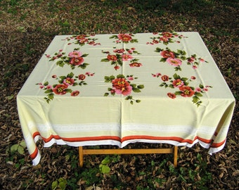 Vintage Cotton Floral Tablecloth, Large Rectangular Printed Tablecloth in Red, Pink, Green and Lime, Floral Table Linens, Tablecloths