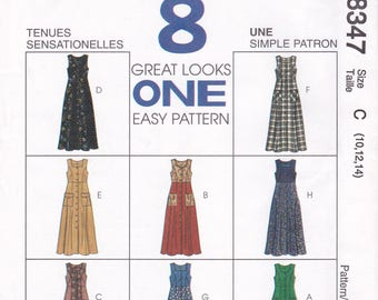FREE US SHIP McCalls 8347 Sewing Pattern 8 Great Looks   Uncut Retro 1990s 90's High Waist Loose Fitting Dress Size 10 12 14 Bust 32.5 34 36