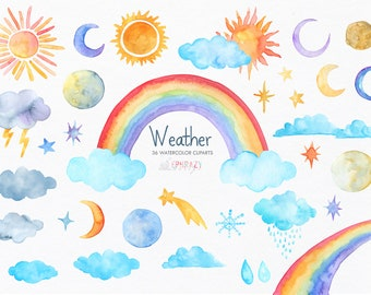 Weather clip art. Weather clipart. Weather graphics. Weather. Cute cloud clipart. Meteorology clipart. Sun clipart. Rainbow clipart