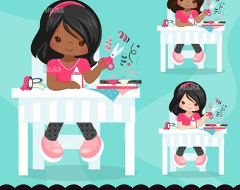 Scrapbooking Girl, Crafty character clipart graphics, card making, planner stickers, embroidery, chore charts, activity, african american