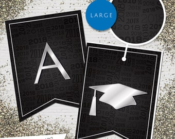 Large Black & Silver 2018 Printable Banner  |  All Letters 0-9 numbers  |  Graduation, Birthday, Congratulations, Anniversary