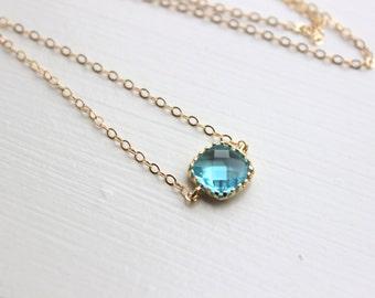 Dainty Aquamarine Blue Necklace Gold Filled Chain - Charm Necklace Aqua Bridesmaid Necklace - Aquamarine Wedding Jewelry - Gift under 25
