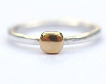 Gold Ring, Gold and Silver Ring, Gold Jewellery, Gold Jewelry, Gold Nugget Ring, Gold Vermeil Ring, Gold Stacking Ring, Square Ring