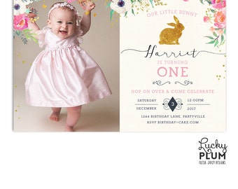 Rabbit Birthday Invitation / Bunny Birthday Invitation /  Woodland Birthday Invite / First Birthday Invitation  / Pink Gold Printable RB01
