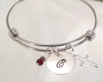 Monogram Charm Bracelet - Silver Cross Charm - Expandable Child and Adult  Size Bangle Bracelet - Confirmations, Baptisms, First Communion