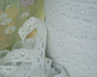 3yds Elastic Lace Ribbon White Stretch Lace Trim 1/2 inch Baby Headbands DIY Wedding Lace, lingerie Edging Bra Supplies