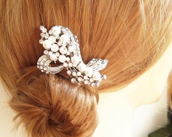 Wedding Hair Comb, Art Deco Hair Accessories, Vintage Bridal Hair Comb, Pearl Hair Comb, Old Hollywood Bridal Comb, BETTE