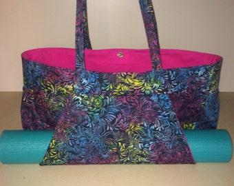 Yoga Mat Tote Bag/Tie Dye Batik Cotton Fabric