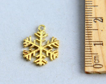 Snow flake Charm, Snowflake Charm, Gold plated Christmas Snowflake Charm, Gold snow charm, Gold plated Snow Charm, 14 x 17mm ( 1 piece )