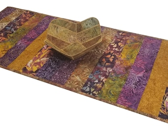 Quilted Table Runner in Purple and Gold Batiks