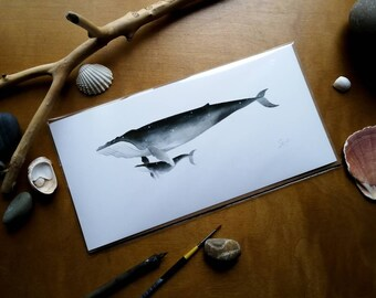 Shelter (The Sky Whale XII) giclee print (25x10cm)