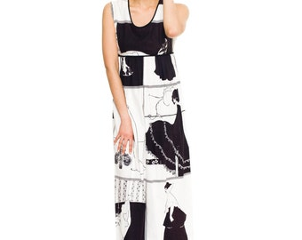 1970s Vintage Aubrey Beardsley Printed Cotton Dress Size S/M/L