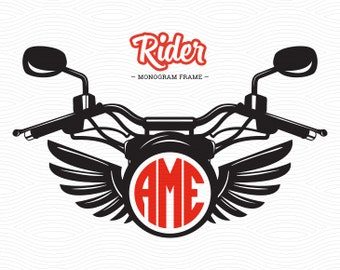 Moto Rider Monogram Frame (SVG, EPS, DXF, Studio3) Motorcycle Cut File for use with Silhouette Studio, Cricut Design Space, Cutting Machines
