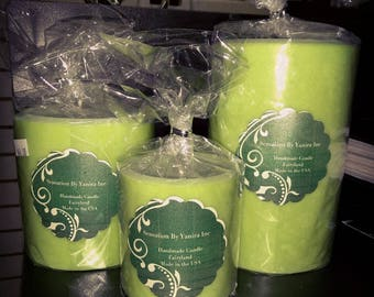 3 Piece Scented Pillar Candle Fairyland Light Green